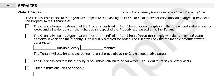 Client instructions - water charges