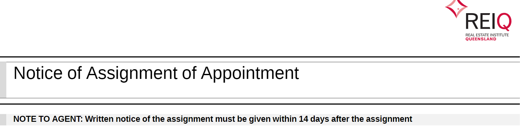 Notice of Assignment of Appointment